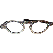 Vintage Folding Glasses Thermoset Plastic Frame Set with Aurora Borealis Rhinestones