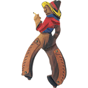 Large Wooden Cowboy with Smoke Brooch Hand Carved and Painted - Book Piece