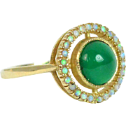 Opal and Green Tourmaline 9k Gold Target Ring