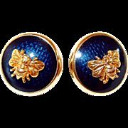 MFA Museum of Fine Arts Navy Enamel Bee Post Earrings