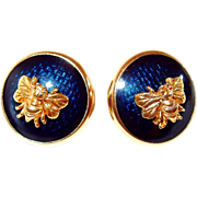 MFA Museum of Fine Arts Navy Enamel Bee Post Earrings