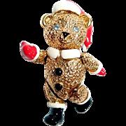 Rare Napier Moveable Santa Claus Teddy Bear Pin with Enamel Accent