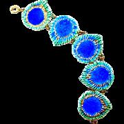 Vintage Majolica Ceramic Peacock Eye Bracelet