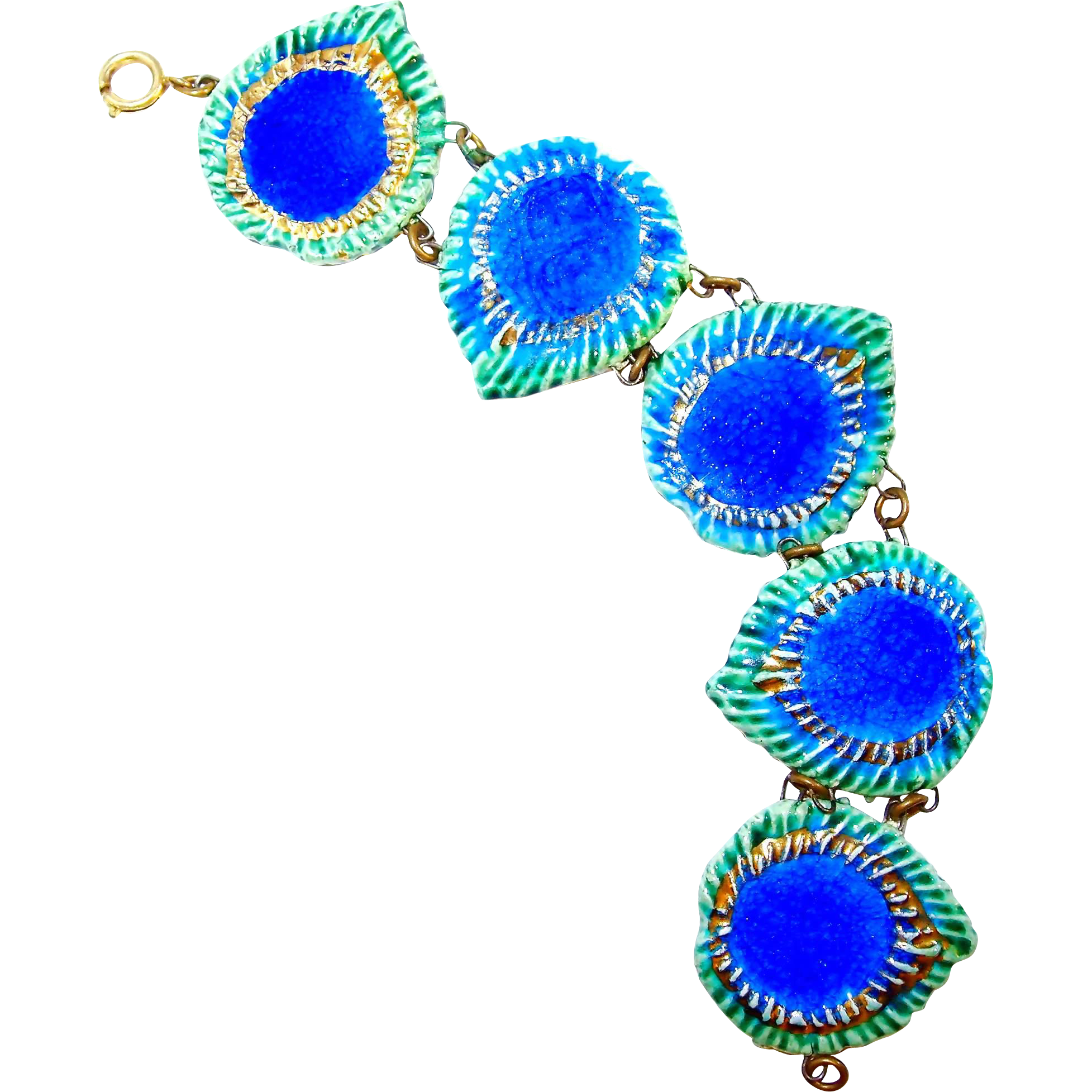 Vintage Majolica Ceramic Peacock Eye Bracelet From