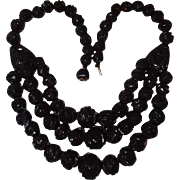 Three Strand 1875 Whitby Antique Black Jet Mourning Necklace, Book Piece