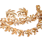 Brushed Crown Trifari Leaf and Faux Pearl Set Includes Necklace Bracelet and Earrings