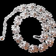 Brushed Silvertone Trifari Leaf Motif Necklace