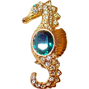 Seahorse Pin with Paved Rhinestones and Green Belly