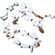 Miriam Haskell Sea Shell Necklace, Milk Glass Gold Shell Beads
