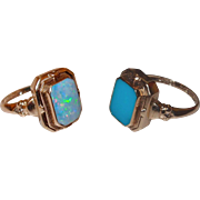 Antique 1920s Reversible Flip Ring Natural Opal and Persian Turquoise 10kt Yellow Gold Cocktail Ring