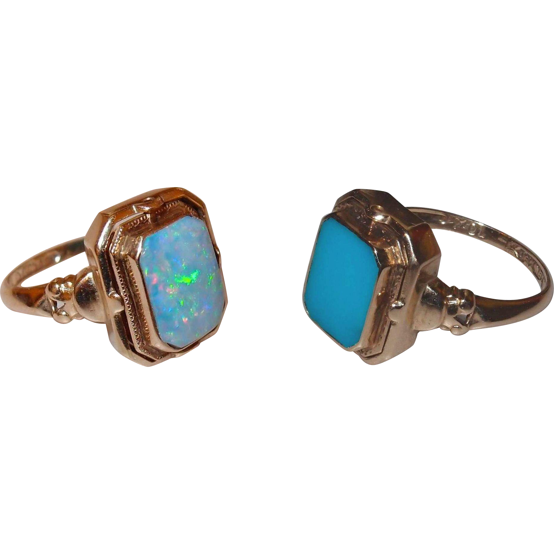 Antique 1920s Reversible Flip Ring Natural Opal And