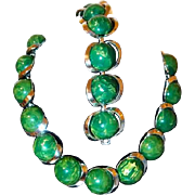 Green and Butterscotch Marbled Early Plastic Necklace and Bracelet Retro Disc Set