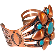 Bell Copper Southwestern Cuff Highlighted with Turquoise