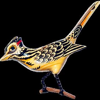 Handmade Wooden Thresher Bird Pin Wire Limbs on Branch
