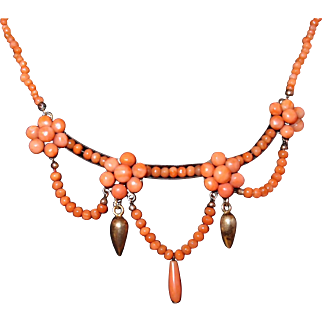Antique Victorian Salmon Coral Festoon Necklace with Buttons, Drop, and Bead Coral