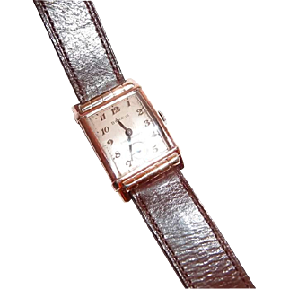 Art Deco Benrus Shock-Absorber Mens Wrist Watch with Rose Gold Plate