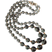Two Strand Scarce Smoke Crystal Bead Necklace