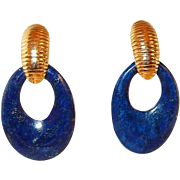 Lapis Lazuli Hoop Drop Post Earrings