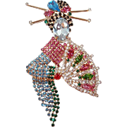 Geisha Girl Brooch with Hair Pins and Fan Paved in Pastel Rhinestones