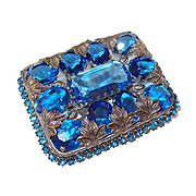 Cobalt Blue Cut Crystal Czechoslovakia Brooch with Leaf Motif