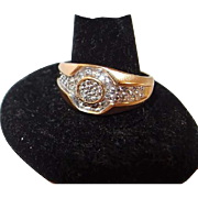 10K Diamond .25ctw Cluster Mens Ring, Size 10.5 Yellow Gold