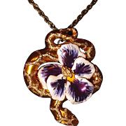 Coiled Snake Pansy Pendant Textured, Enameled