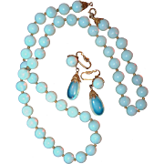 Opal Opalescent Bead Necklace and Drop Earring Napier Set