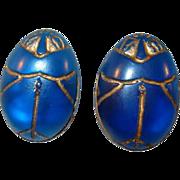 Translucent Blue Resin Egyptian Beetle Clip Earrings