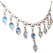 Fine Vintage Moonstone Drop Necklace in Original Condition with Nice Silver Settings and Scarce Blue Moonstones