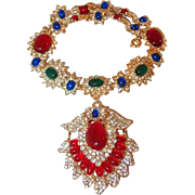 Haute Couture Red, Lapis Blue, Green Jade Lucite Cabochon Pendant Necklace Surrounded in Bright Paved Rhinestones