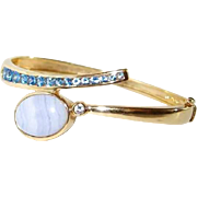 Gold Vermeil Sterling Blue Topaz Agate Crystal Hinged Bypass Bracelet