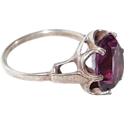 Sterling Sarah Cov. Purple Ring Adjustable