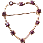 Amethyst Crystal Heart Studded Pin