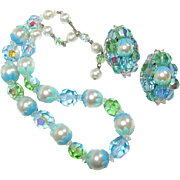 Plastic Set Green Blue Beads and Floral Findings Necklace Earrings