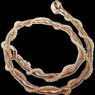 Seed Pearl Double Twist Coro Pegasus Choker Necklace