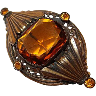 Victorian Simulated Citrine Glass Brass Pin