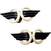 Early Plastic War Wing Shoe Clips Black and Cream