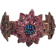 Chinese Enamel Cherry Blossom Bracelet 1930s Sterling Filigree