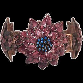 Chinese Enamel Cherry Blossom Bracelet 1930s Sterling Filigree