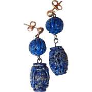 Carved Chinese Lapis Lazuli Bead Post Earrings Fine 9kt gold