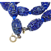 Chinese Lapis Lazuli 9Kt Fine Carved Bead Necklace