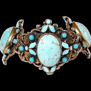 Robins Egg Blue Glass Filigree Enameled Bracelet