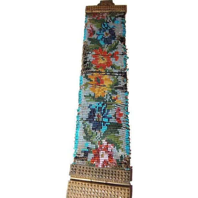 Antique Floral Seed Bead Bracelet Handmade 1800s