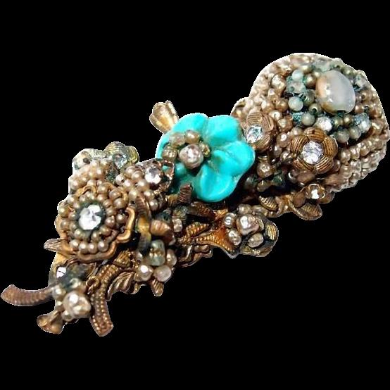 Horseshoe Miriam Haskell Faux Seed Pearl Pin Glass Flower Rhinestones
