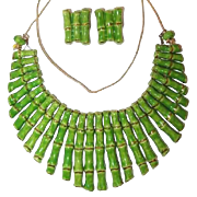 Green Ceramic Bamboo Bib Necklace Earring Set Trimmed in 24K Gold