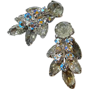 Two Dimensional Smoke and Blue Peach Aurora Borealis Leaf Motif Rhinestone Clip Earrings