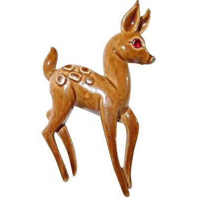 Brown Enamel Fawn Deer Animal Figure Pin From the Forest