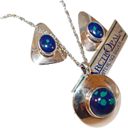 Vintage Azurite Malachite Arctic Opals Sterling Necklace Earring Set