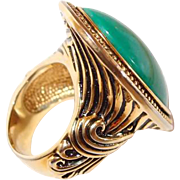 Green Marble Large Face Cocktail Ring Greek Motif