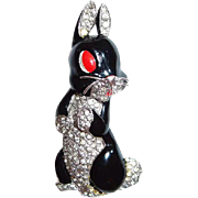 Trifari Alfred Philippe Black Rabbit Silver Whiskers Pin Clip 1938